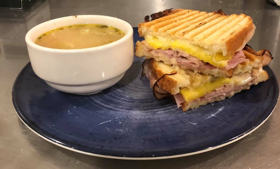 Soup and Pannini at Gathering Grounds